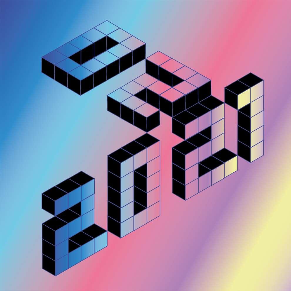 Ulla Puggaard, Graphic minimal isometrie 3D 2021 typography.