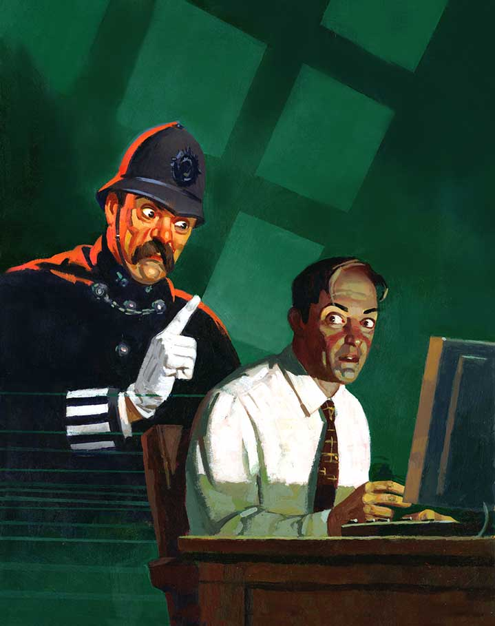 Paul Slater, Humouristic vintage hand painted illustration for an advertising for internet pirate with a policeman standing behind a man on his computer