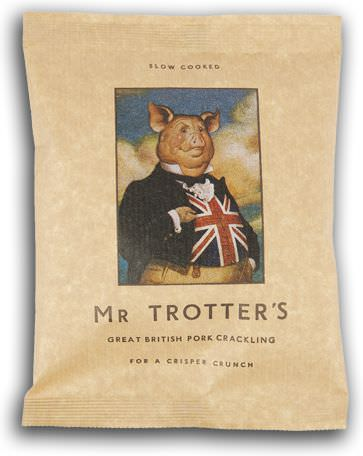 Carol Lawson, Hand-painted personified pig wearing a suit with the union jack flag on packaging