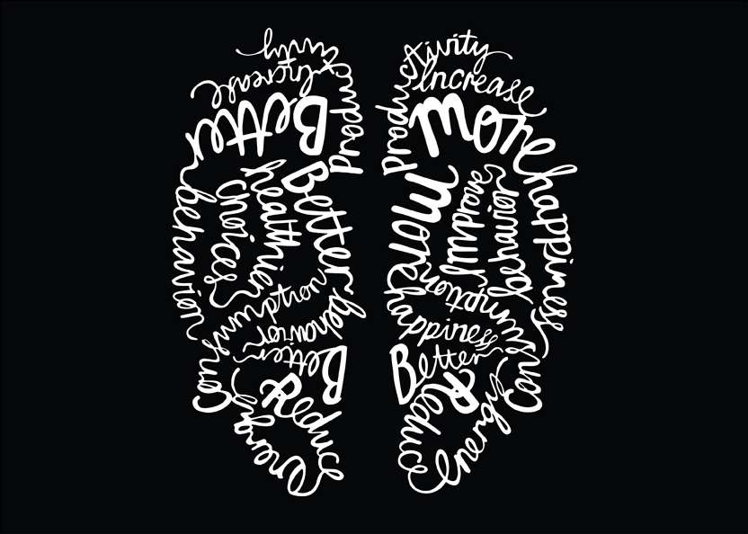 Ulla Puggaard, ulla puggaard minimal typography illustration of a brain for wired magazine