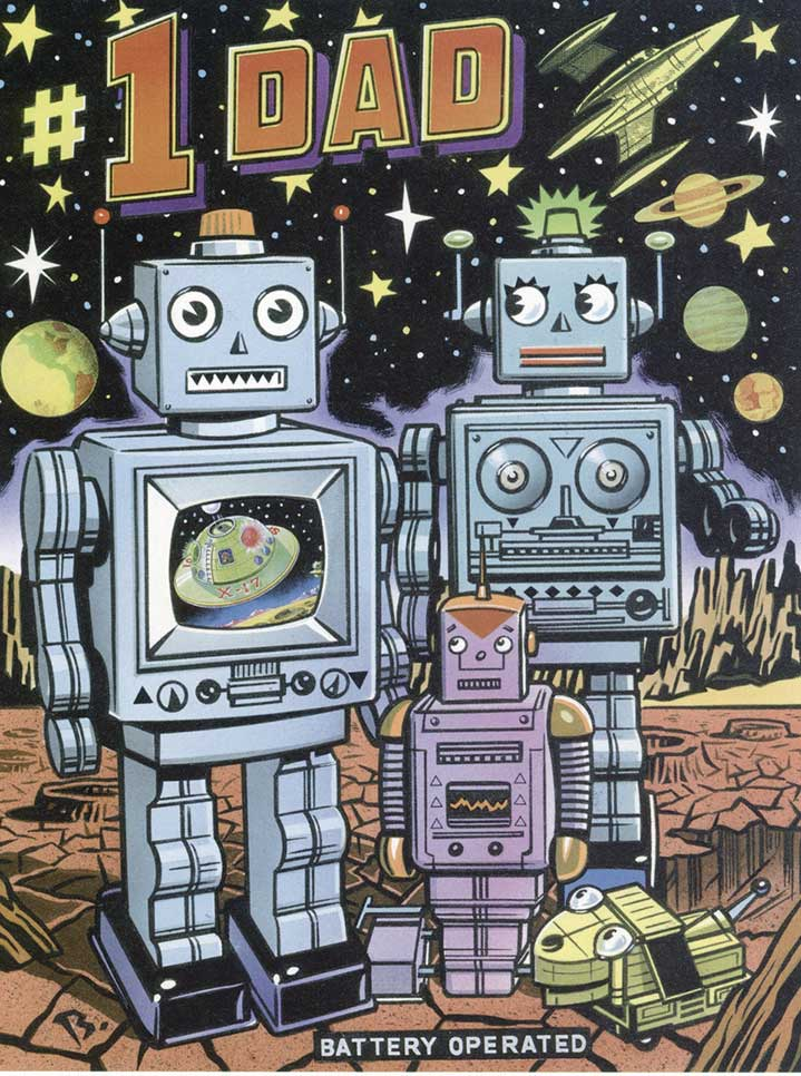 Mick Brownfield, Handpainted vintage illustration of a robot family