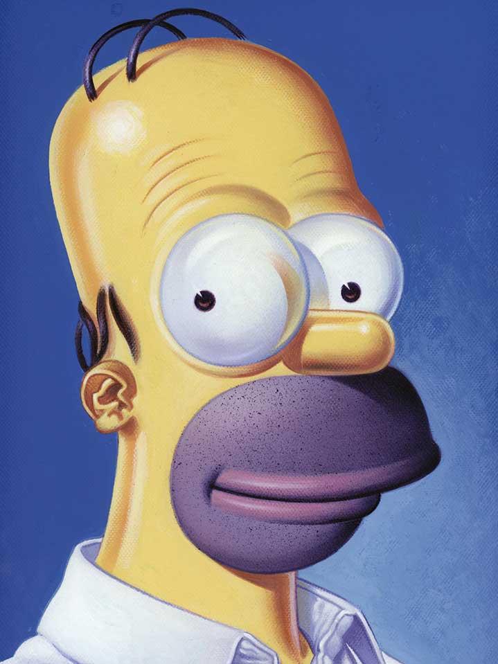Mick Brownfield, Handpainted vintage illustration of Homer Simpson