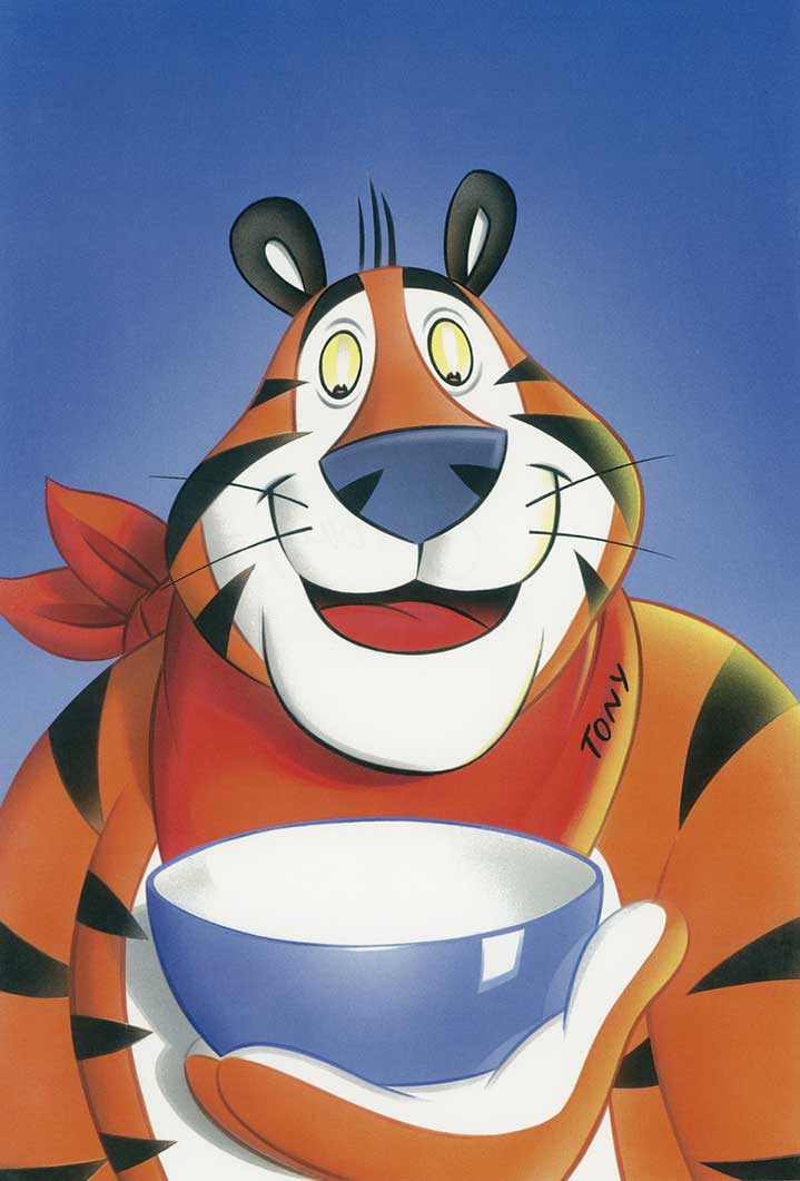Mick Brownfield, Retro painterly illustration of tony the Kellogg's tiger character holding a bowl