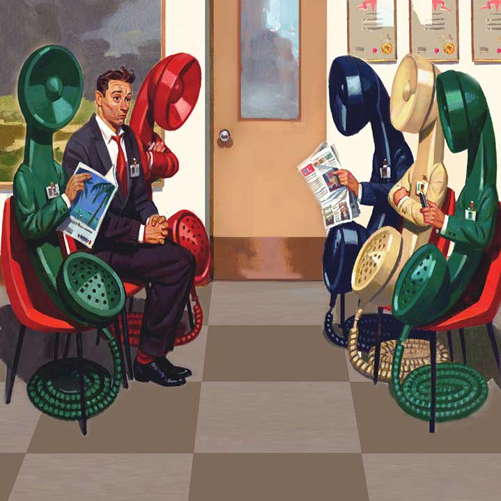 Paul Slater, Vintage hand-painted illustration of an absurd and surreal scene of a man in a waiting room surrounded by personify phone