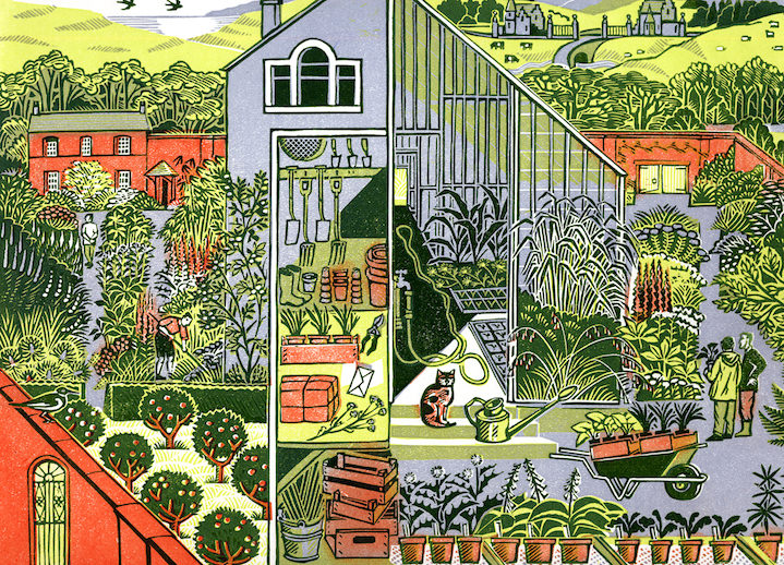 clare melinsky, linocut, print, ink, hand printed, heritage, traditional, illustration, illustrator, landscape, animals, nature, wildlife