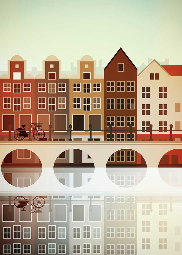 Stanley Chow, Architectural digital illustration of Amsterdam