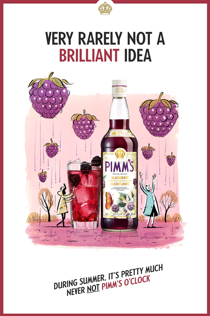 Stephen Collins, Advertising campaign for Pimms. Mix media illustration of the picture of the bottle in a painterly scenery of blackberry falling down the sky like rain