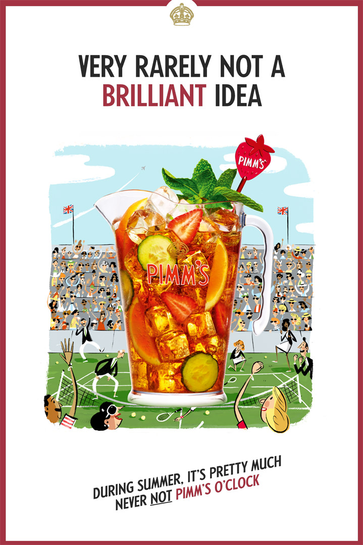 Stephen Collins, Advertising campaign for Pimms. Mix media illustration of the picture of a Pimm's pitcher in a painterly scenery of a tennis match