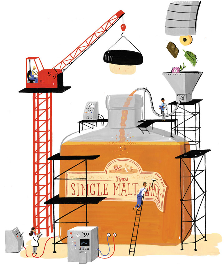 Stephen Collins, Narrative painterly illustration of a factory creating whiskey