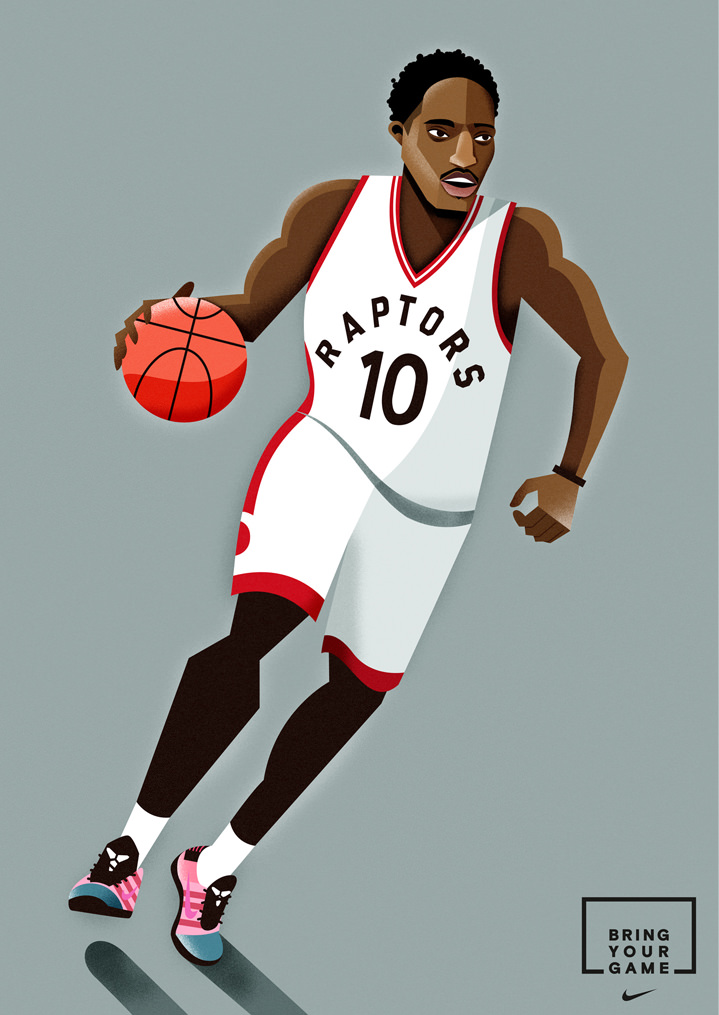 Dale Edwin Murray, Graphic illustration of a basketball player for nike campaign