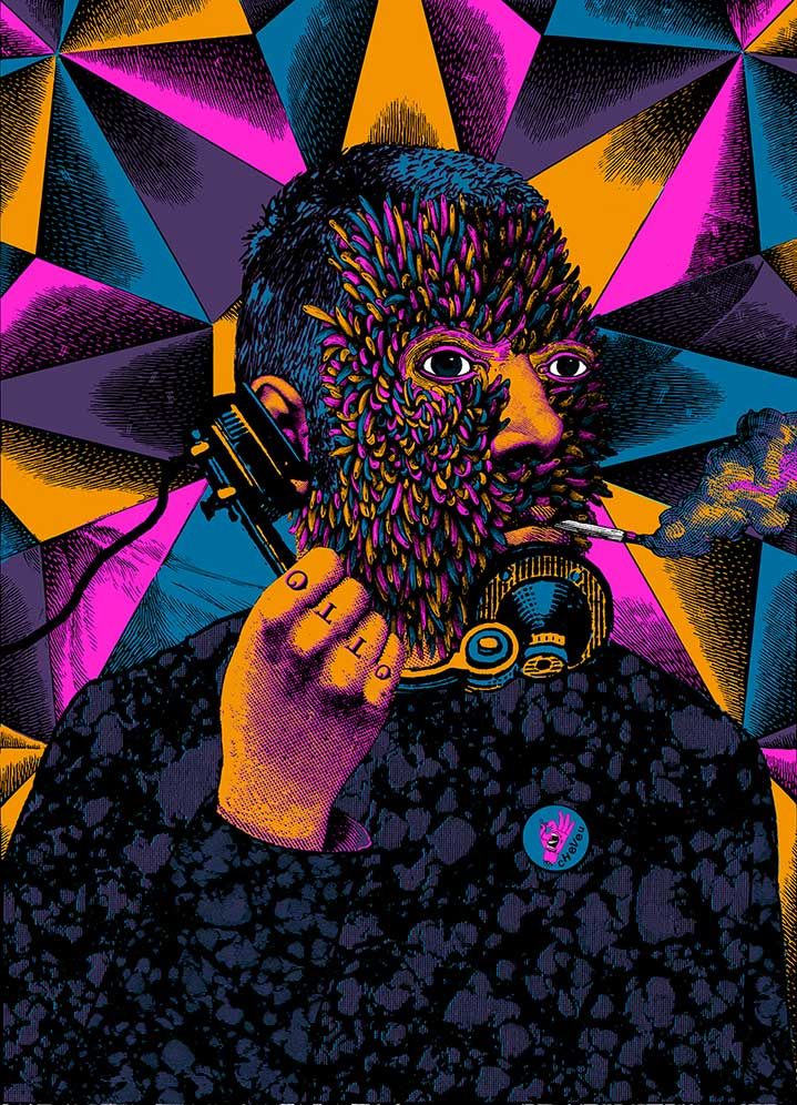 Elzo Durt, Elzo Durt Psychedelic Illustration of a man on the phone, smoking with geometric shapes appearing from his face and spiralling into the background.