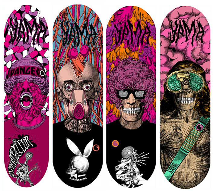 Elzo Durt, Elzo Durt Psychedelic Illustration of characters on skateboards, surrealist, punk, rock, collage.
