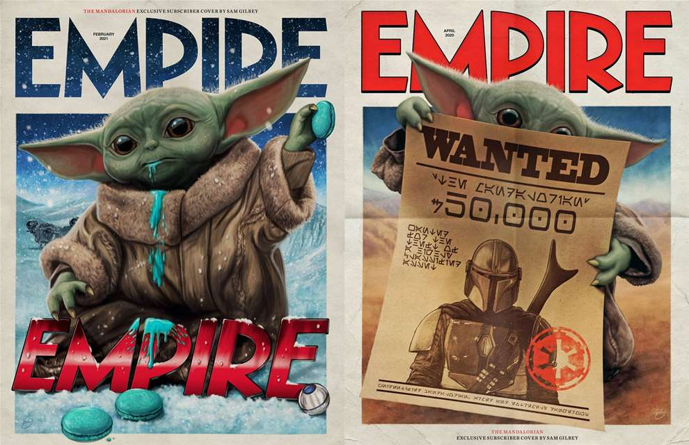 Sam  Gilbey, Painterly digital cinematic poster of baby yoda for Empire magazine cover.