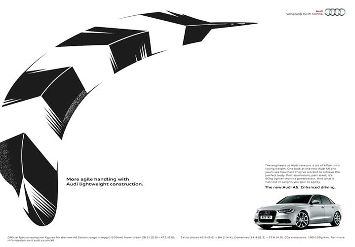 Ulla Puggaard, ulla puggard feather illustration for audi advert