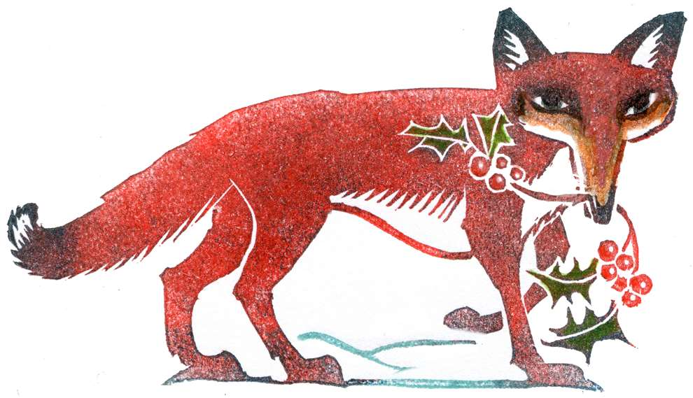 Clare Melinsky, Linocut illustration of a Christmas fox carrying holly in its mouth.