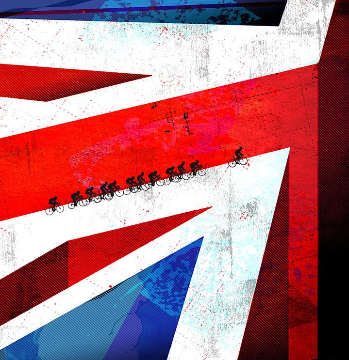 Gary Neill, Conceptual and narrative illustration of a group of cyclist in an union jack flag