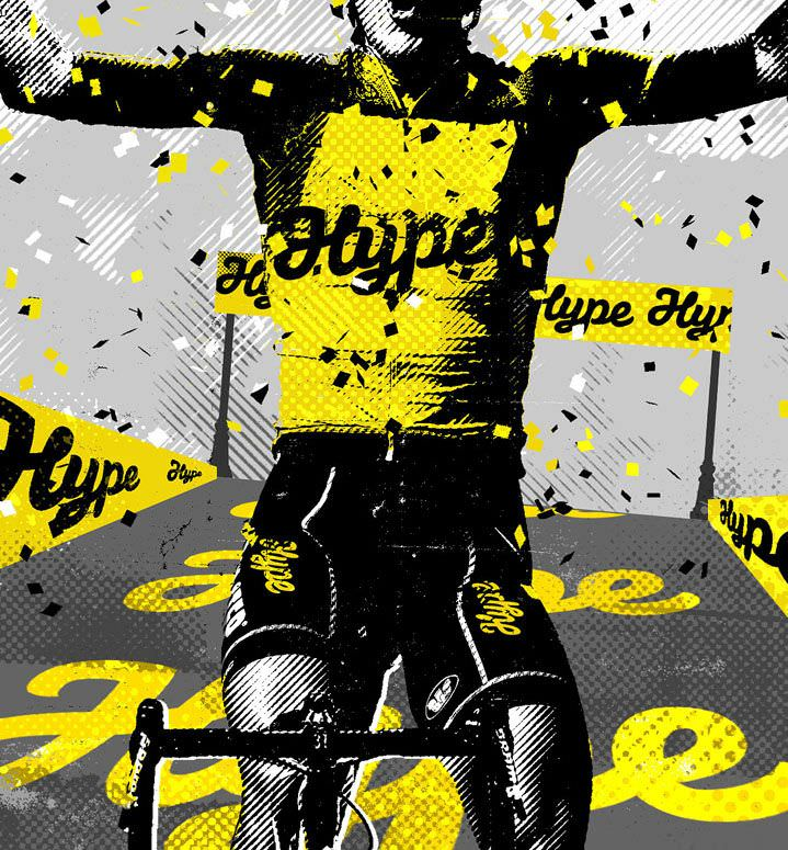 Gary Neill, Graphic and bold digital illustration of a cyclist winning a race