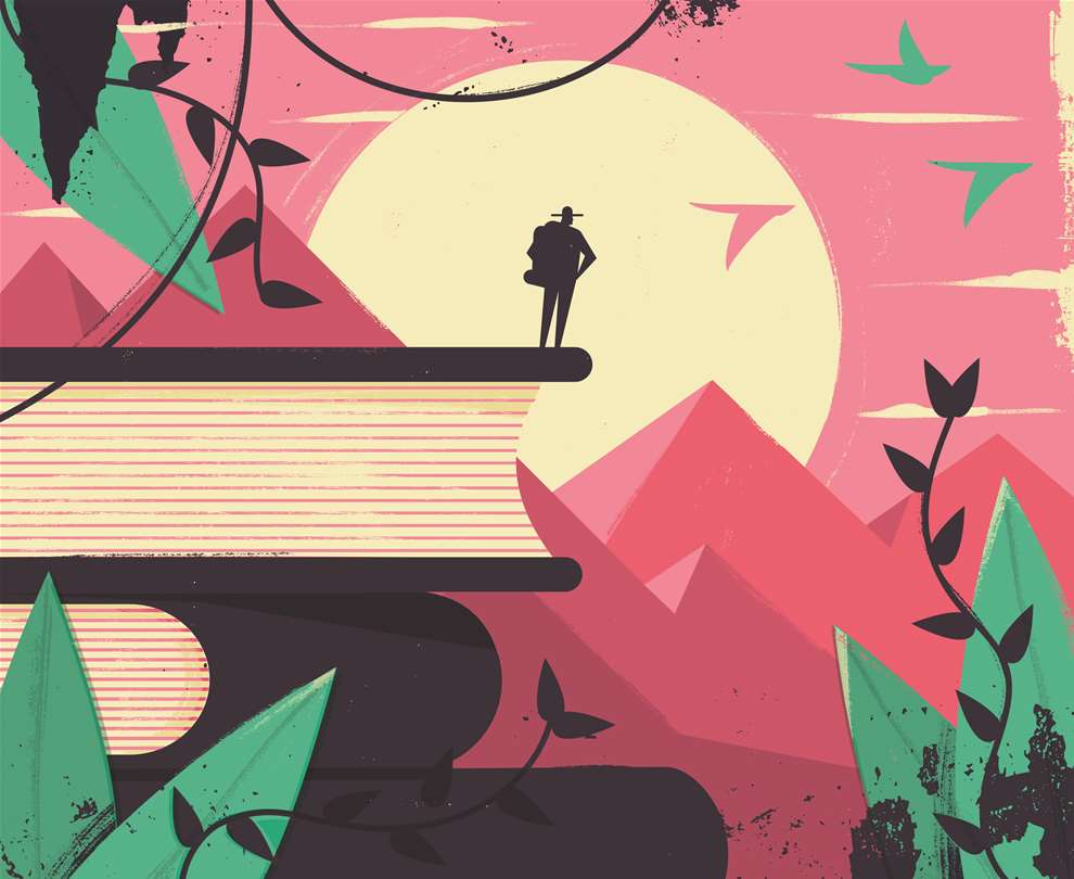 Dale Edwin Murray, Digital bold illustration of a backpacker standing on top of a stack of books, sense of  adventure, looking at landscape of mountains.