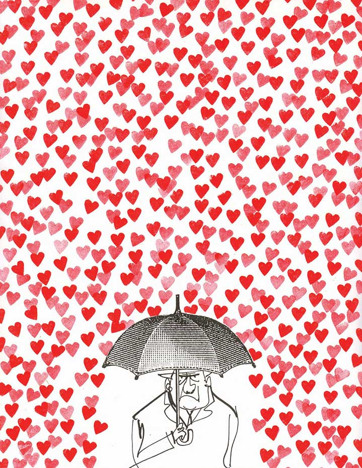 MH Jeeves, MH Jeeves ironic collage illustration, grumpy man with raining love hearts.