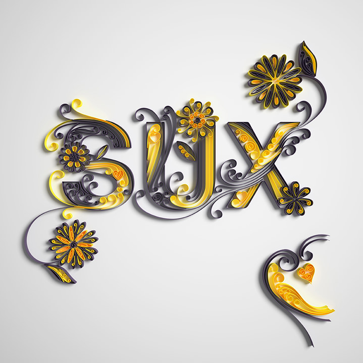 2&3, 3D render typography. Delicate and elegant flourishing lettering. Decorative quilling.