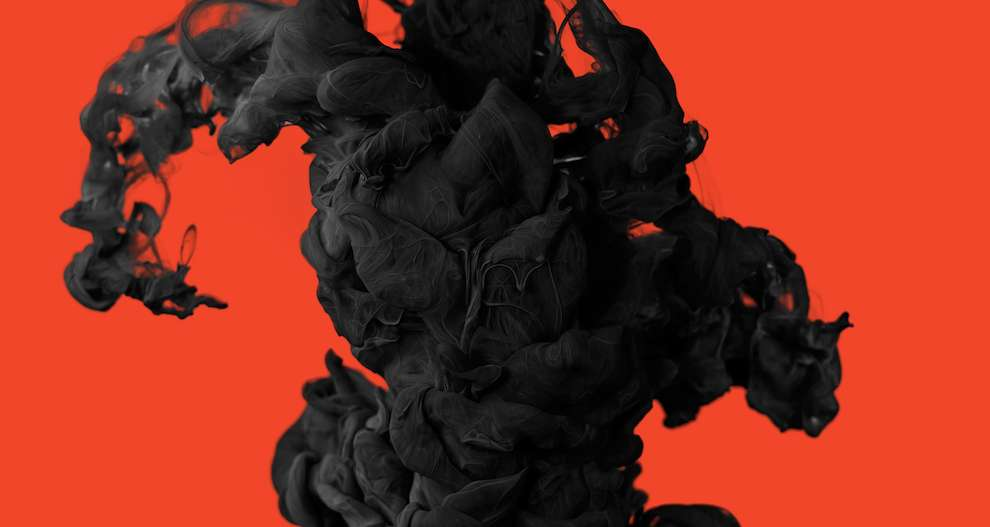Alberto Seveso, slow motion photograph of ink in water. black abstract shapes.