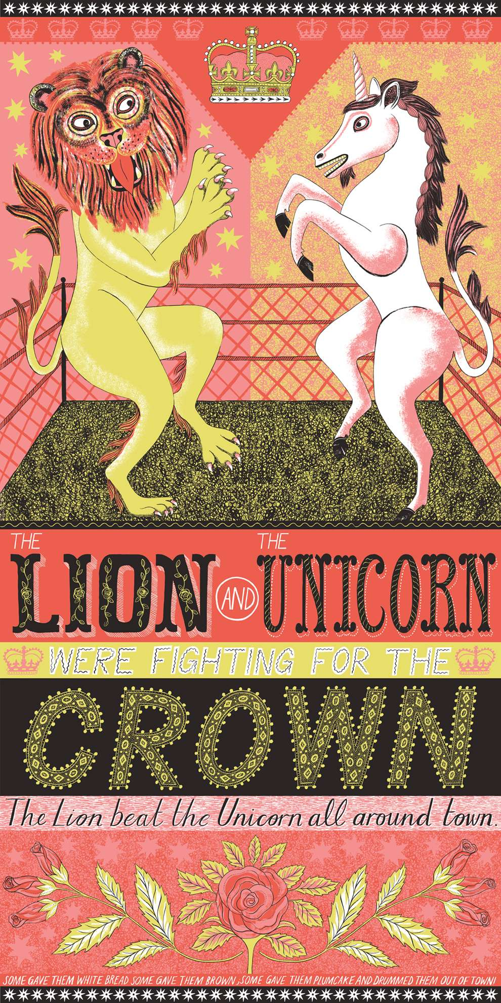 Alice Pattullo, Bright and colourful screenprint book cover illustration of a lion and a unicorn fighting in a ring