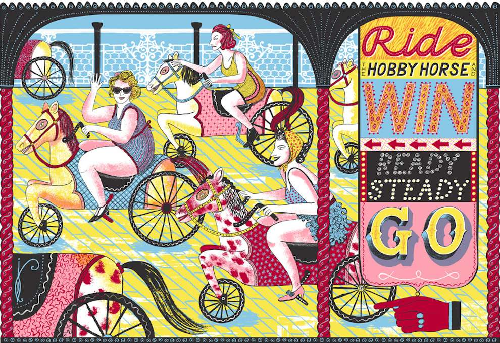 Alice Pattullo, Screenprint folk colourful illustration of retro looking women riding horses in a carousel