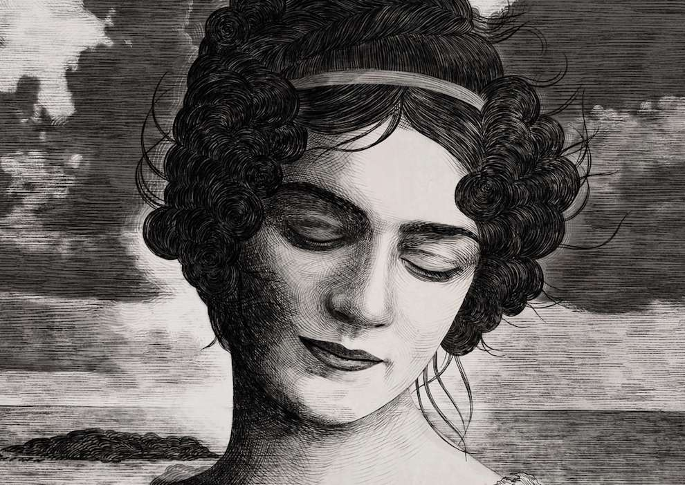Anna Higgie, Balck and white portrait of a woman in an etching style