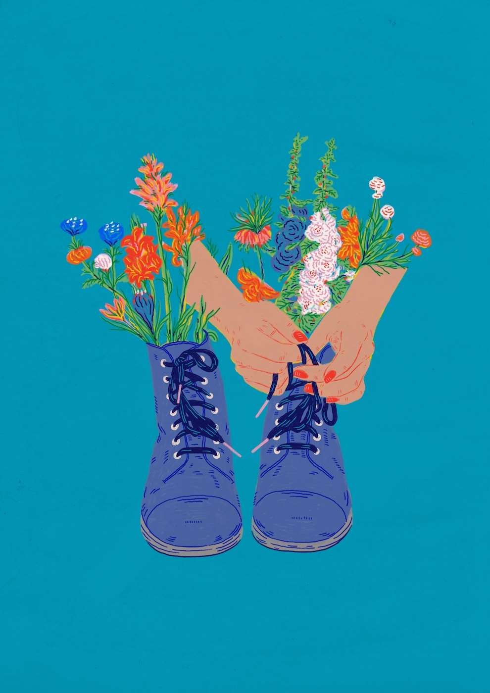 Anna Higgie, Hand drawn illustration of shoes with flowers in them