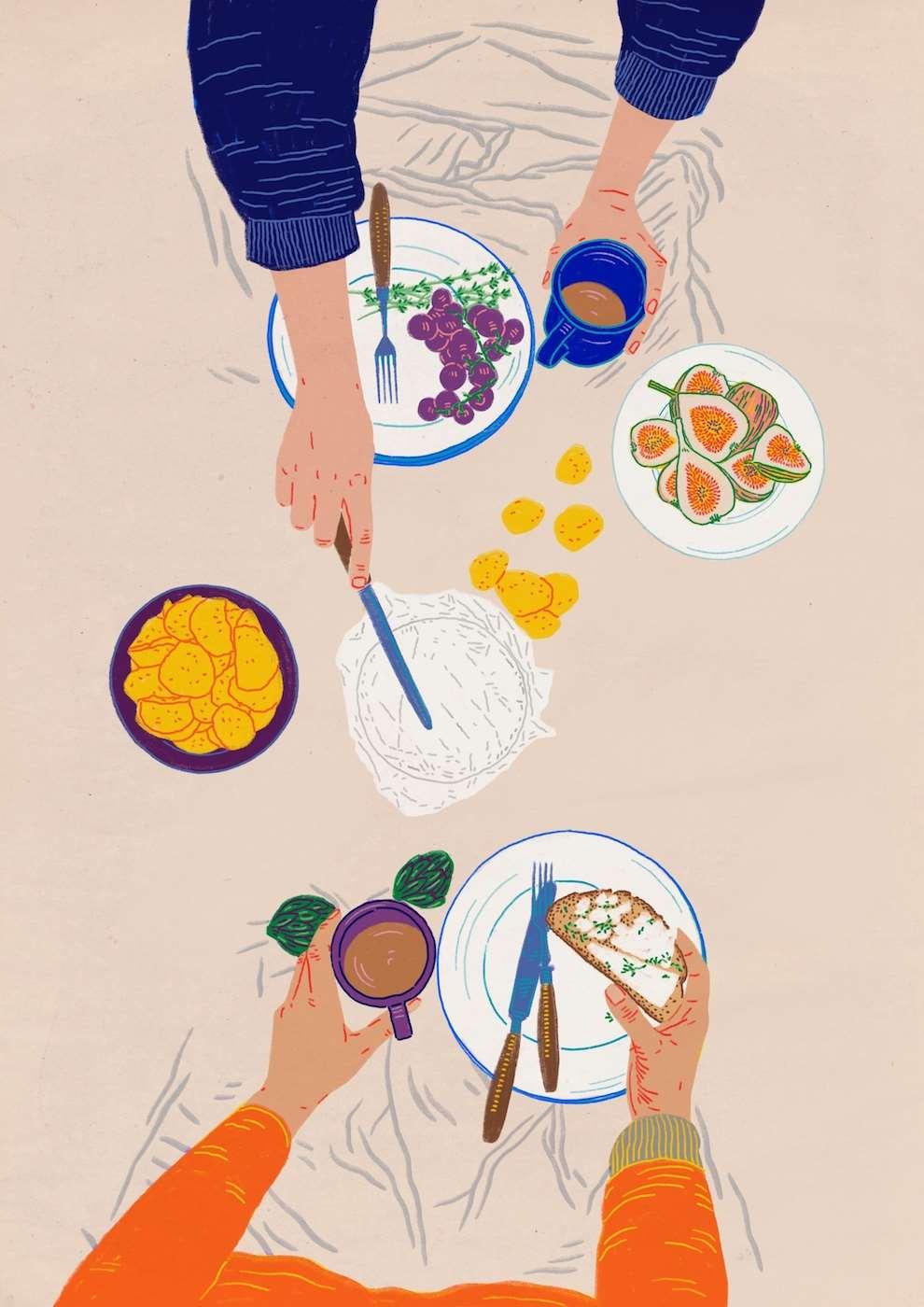 Anna Higgie, illustration table of food