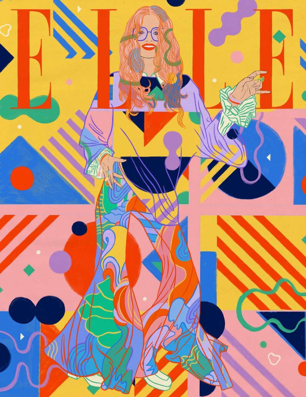 Anna Higgie, Graphic and colourful portrait of a woman, cover of ELLE magazine