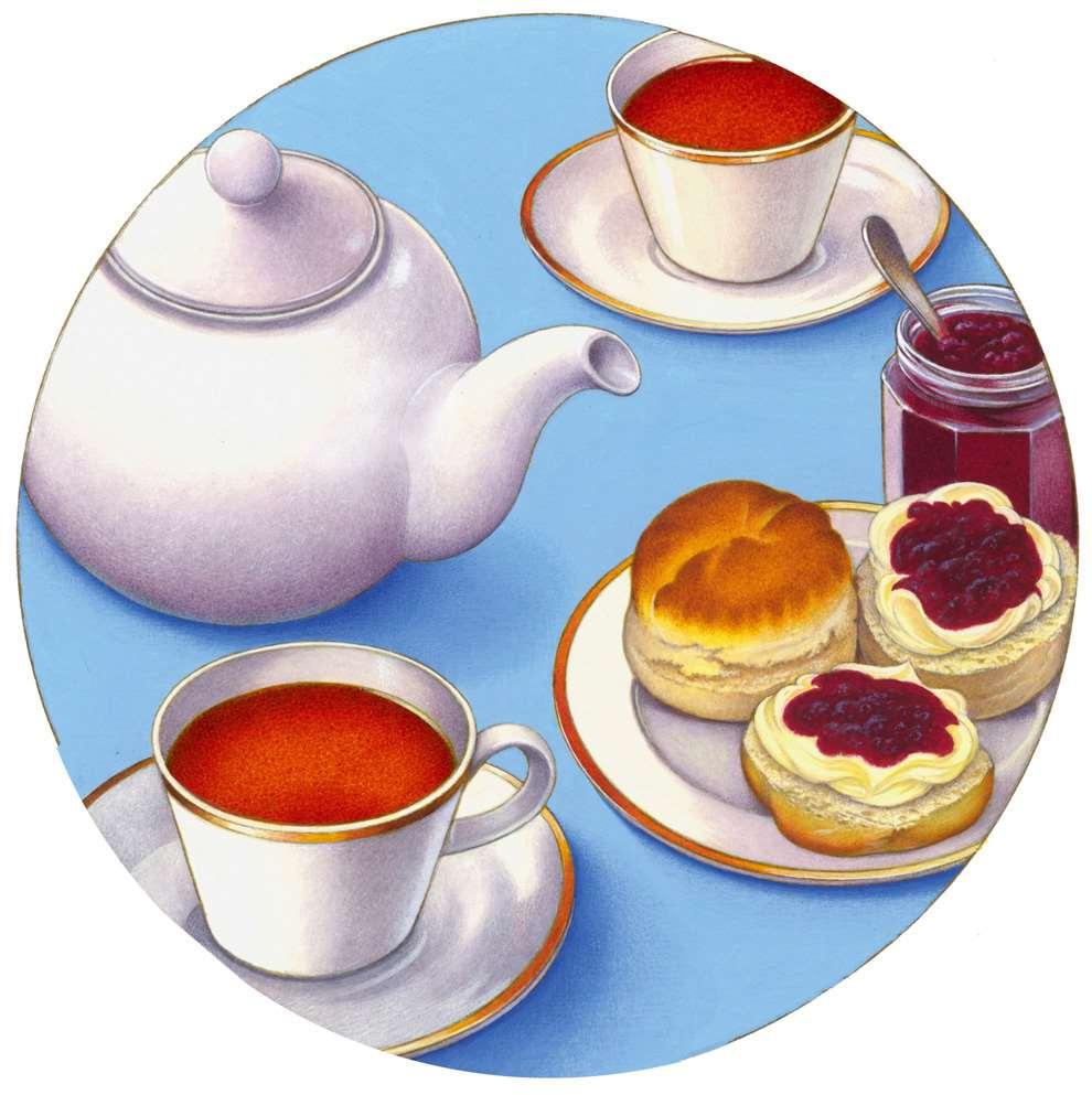 Carol Lawson, Handpainted vintage illustration of a set of teacups