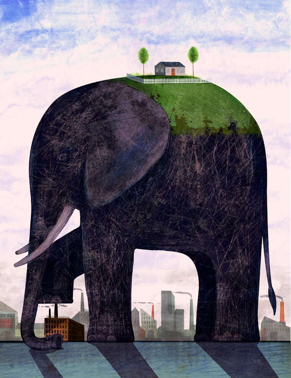 Christian Northeast, Illustration of a gigantic elephant with a house and garden on his back