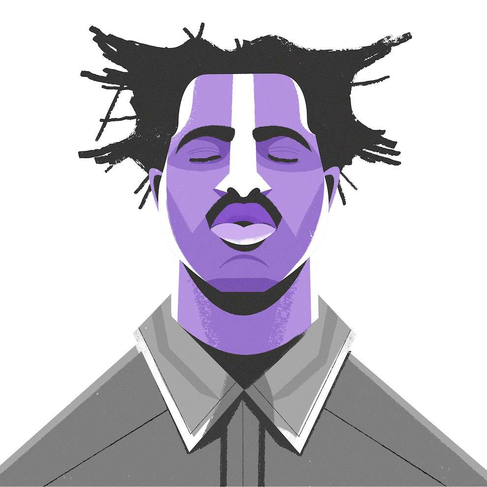 Dale Edwin Murray, Digital and textural black and white portrait of Sampha