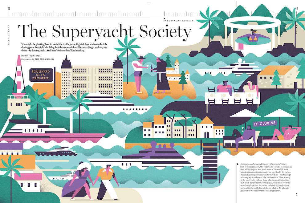 Dale Edwin Murray, Minimal digital illustration for an editorial job about the superyatch society