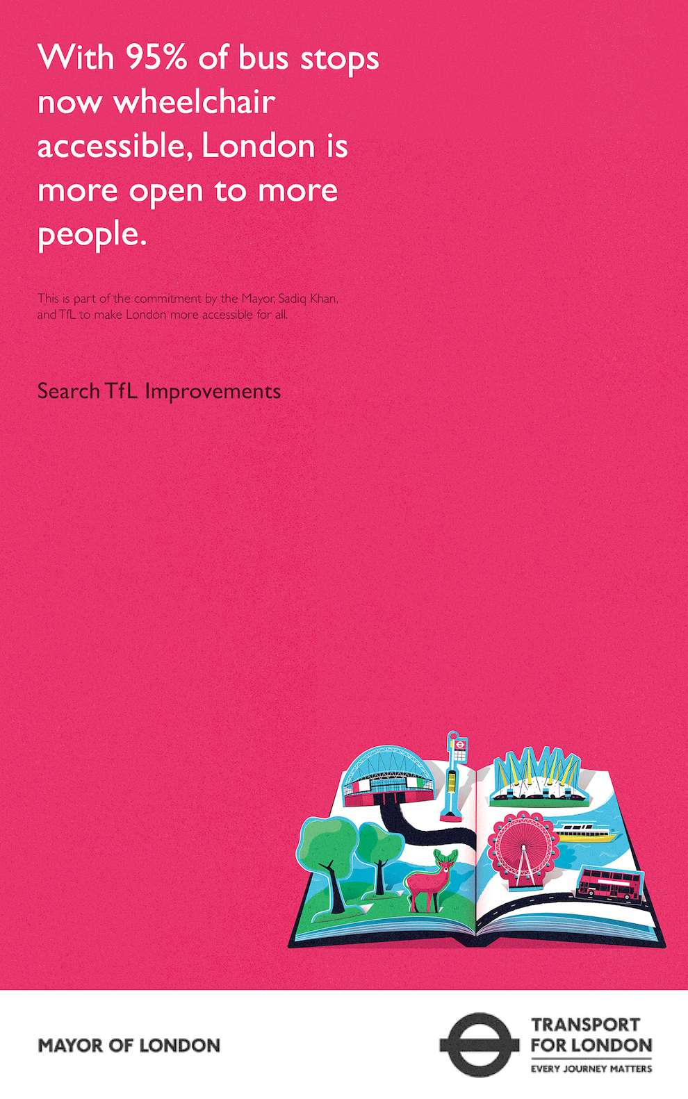 Dale Edwin Murray, Digital and graphic illustration for Transport of London on pink background