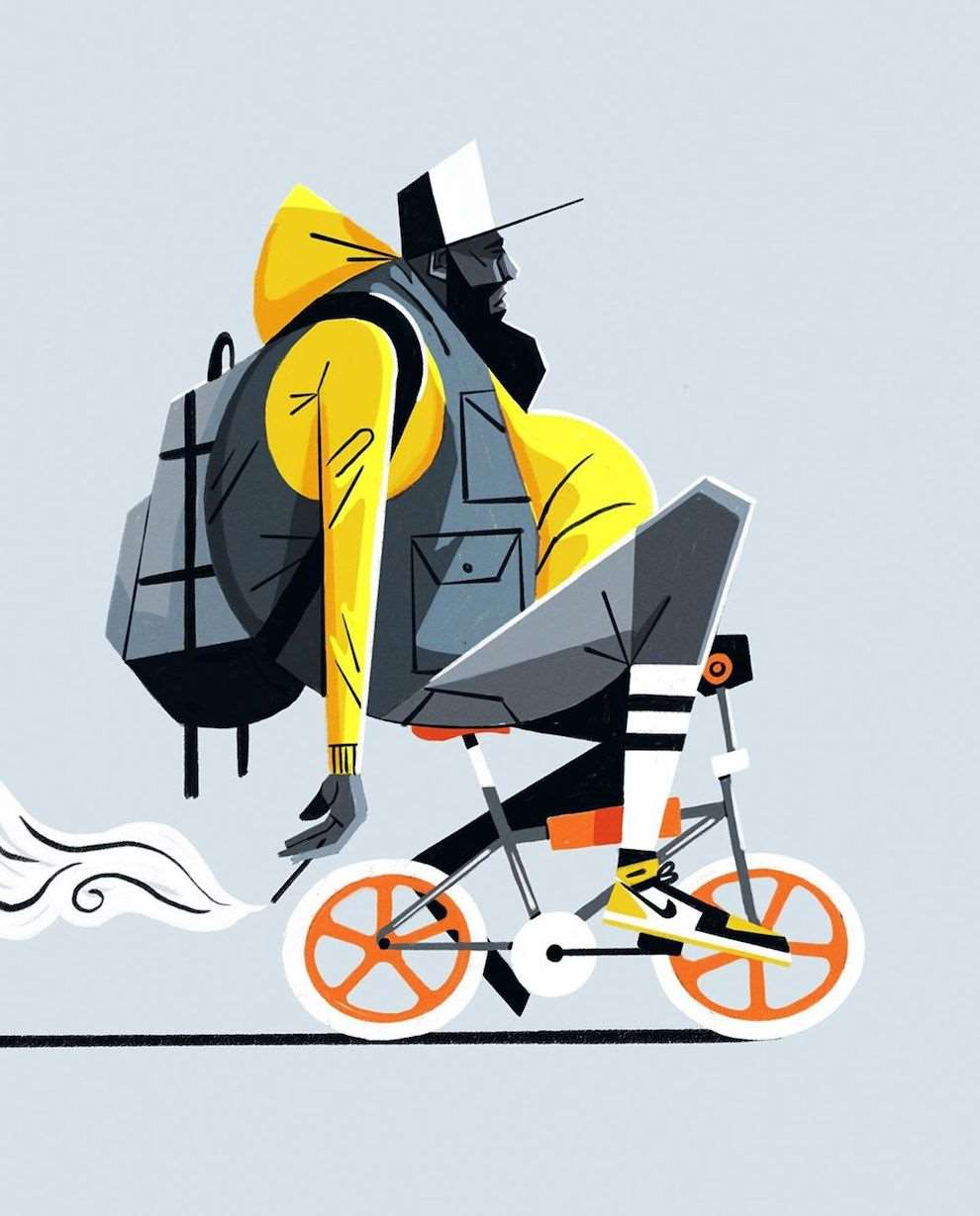 Dale Edwin Murray, Digital Illustration, graphic style of a man riding a bike.