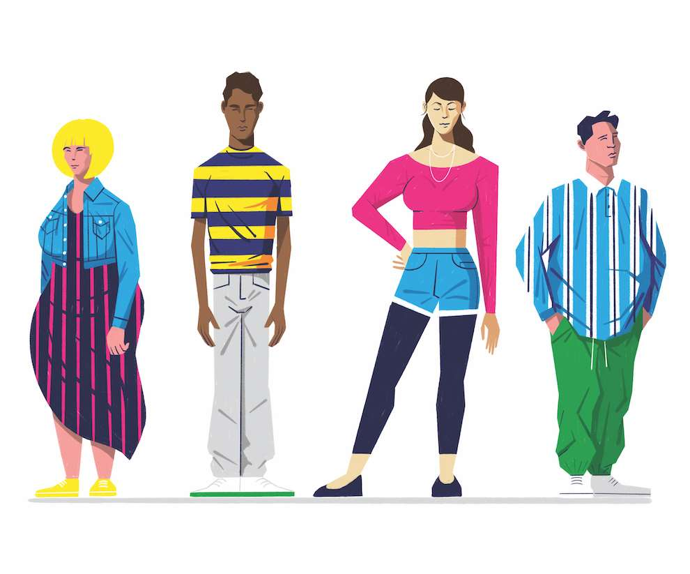 Dale Edwin Murray, Digital illustration of characters from Queer Eye, fashion lifestyle.