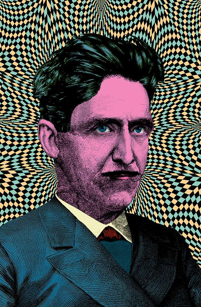 Elzo Durt, Elzo Durt Psychedelic Portrait fo George Orwell with geometric pattern in background.