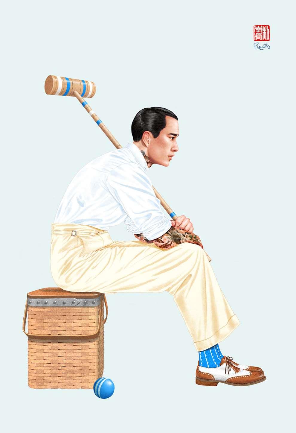 Jason Raish, Tattoed croquet player mens fashion illustration