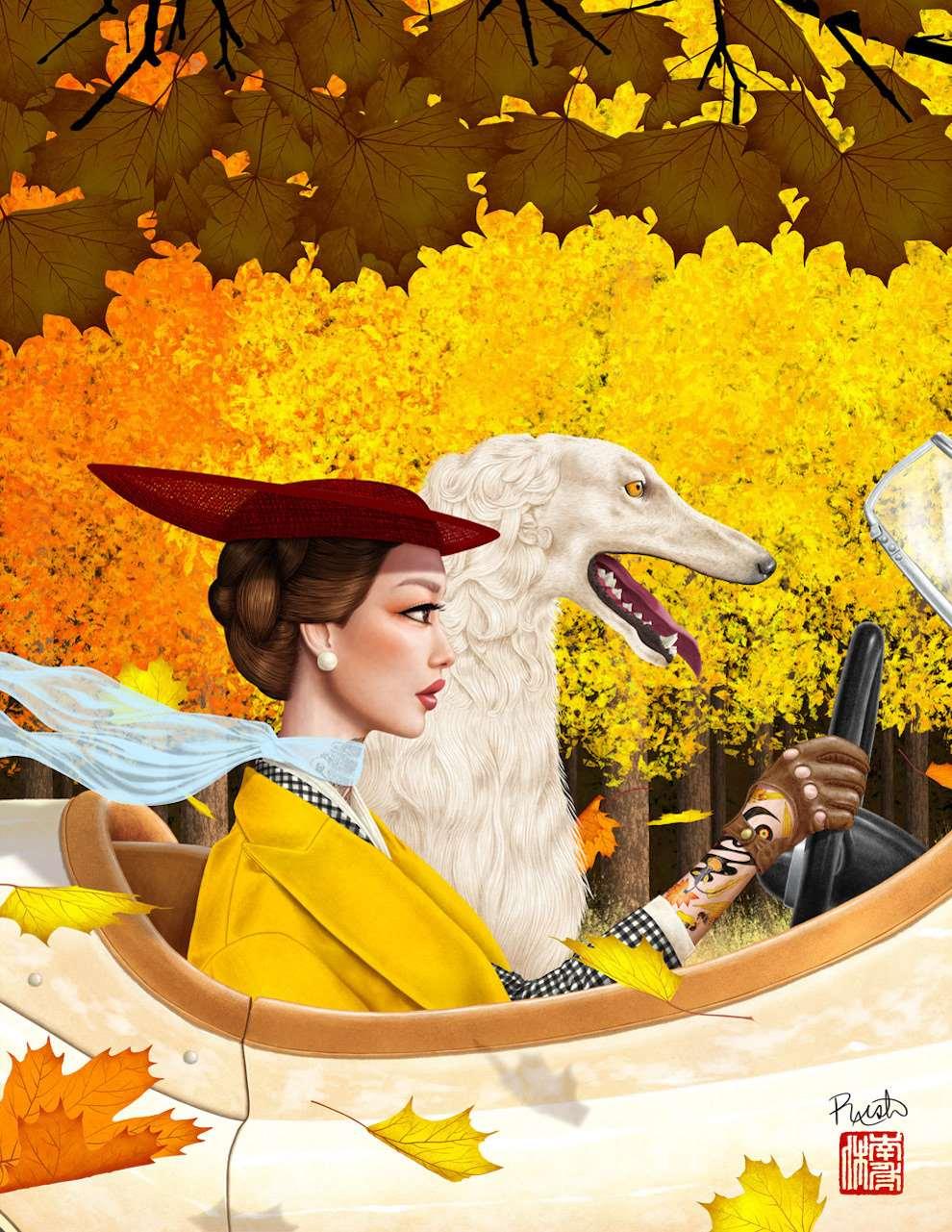Jason Raish, Autumn high fashion woman with borzoi dog driving a vintage car