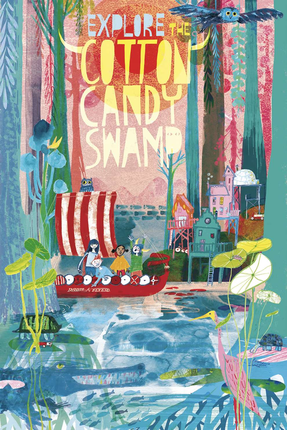 Jill Calder, Mix media textural book cover of children sailing on a boat in a swamp. Vibrant an colourful illustration