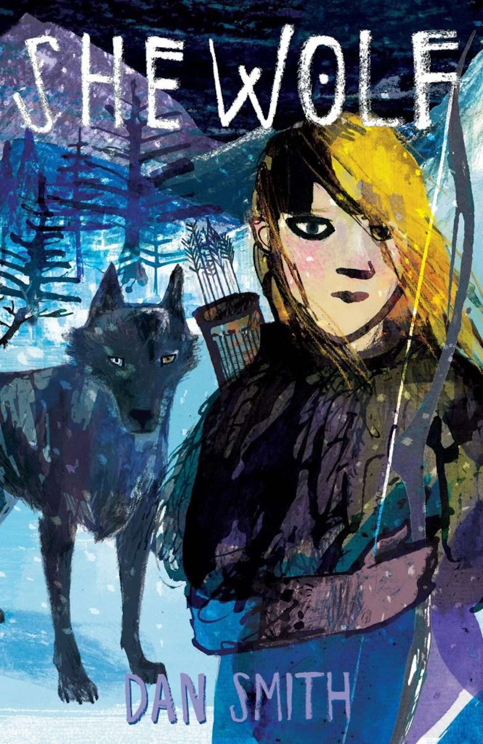 Jill Calder, Hand drawn book cover of a girl and a wold in a snowy scenery