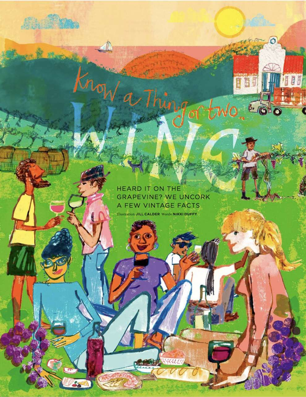 Jill Calder, Illustrated feature on wine