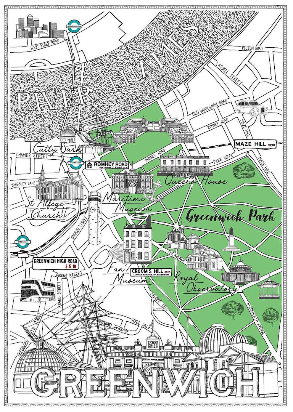 Jitesh Patel, Black and white line illustration map of Greenwich with spot illustration as landmark