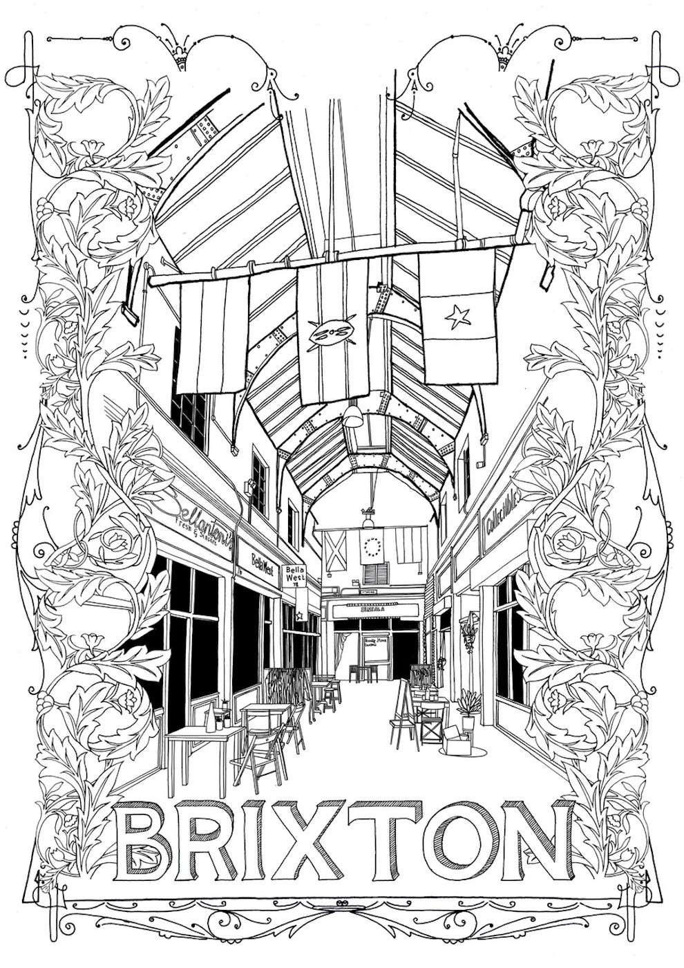 Jitesh Patel, Line illustration of Brixton market
