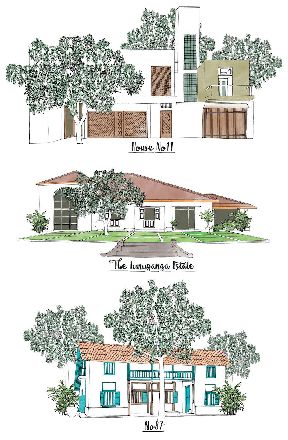 Jitesh Patel, Architectural line illustration of three houses