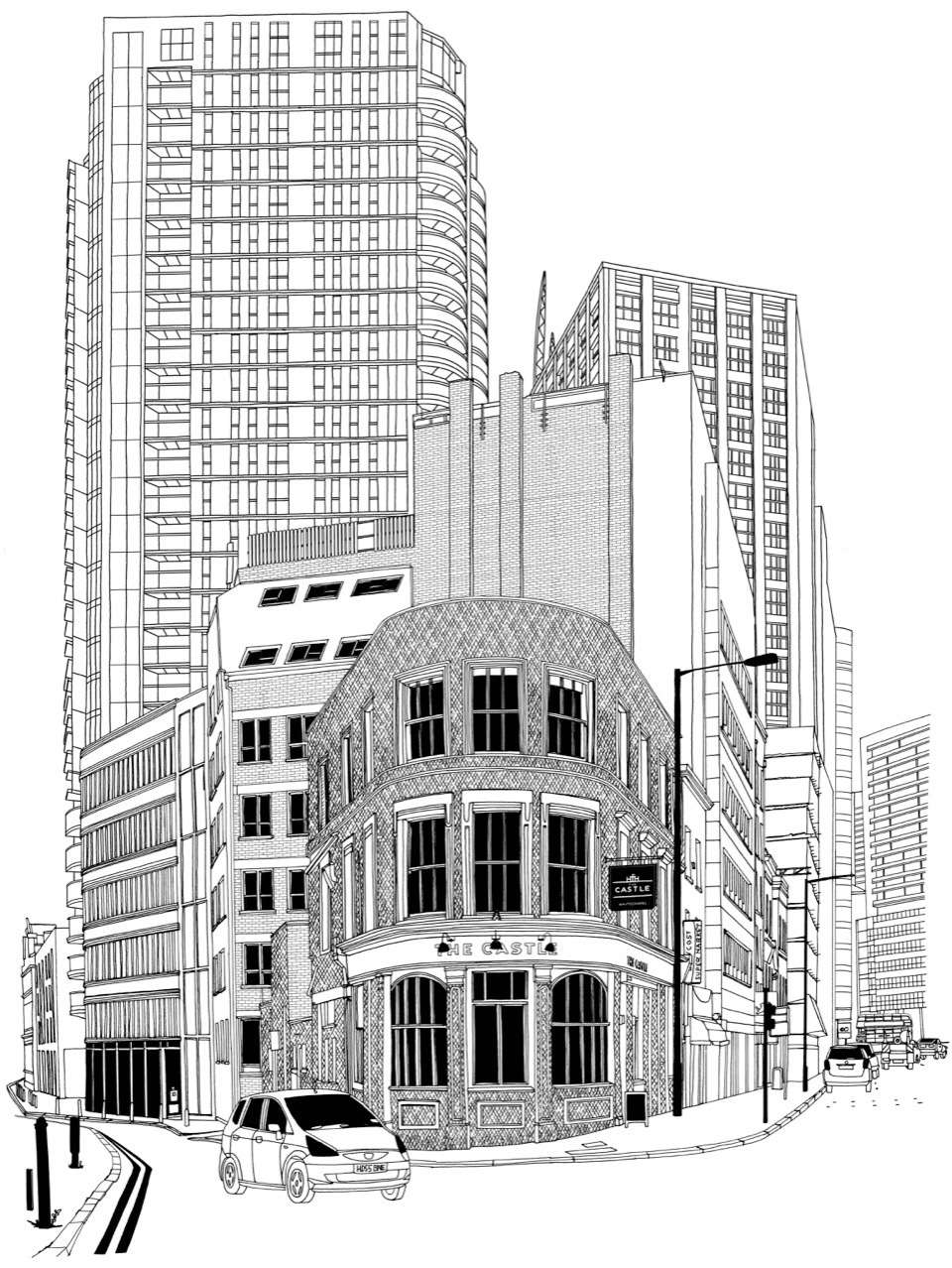 Jitesh Patel, Fine line pen illustration of a city scape in black and white with detailed architecture elements