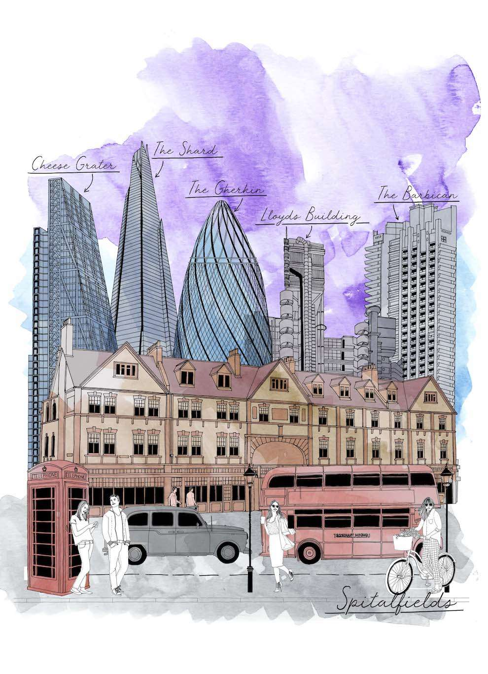 Jitesh Patel, Architectural line illustration of Spitafields market