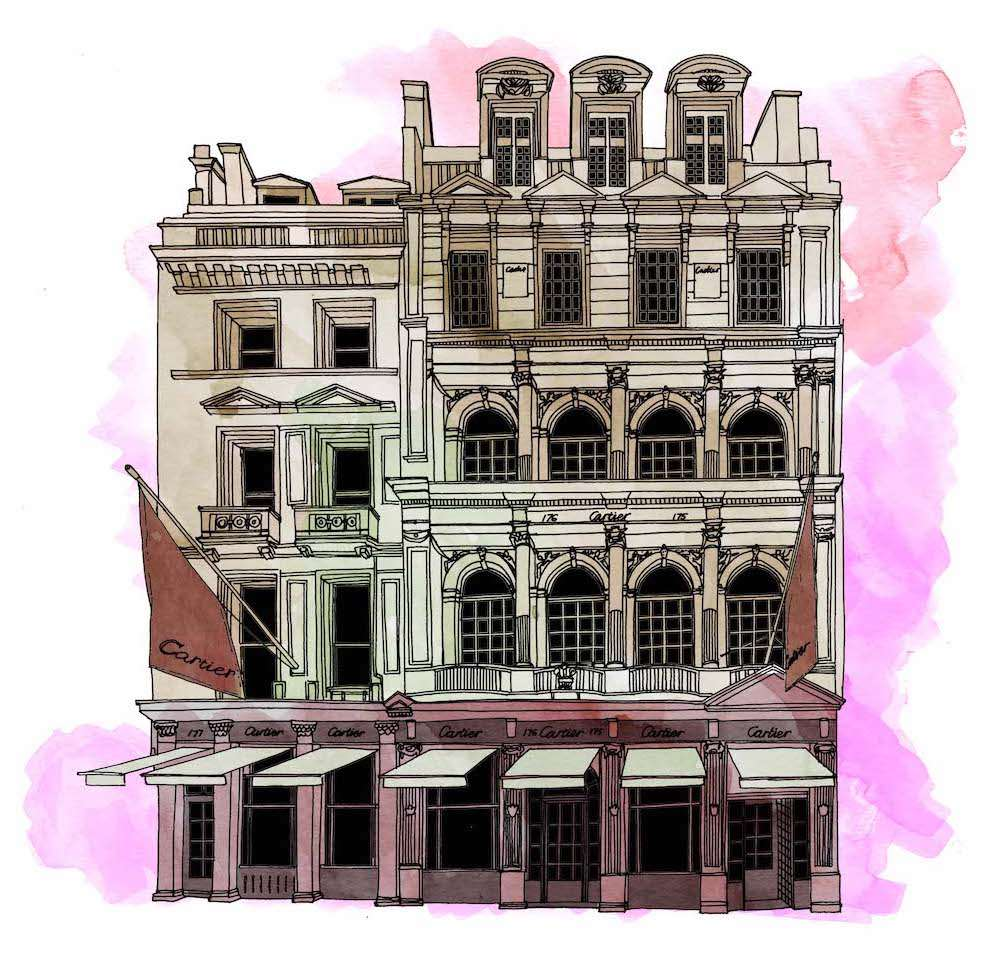Jitesh Patel, Detailed Cartier building in black and white with watercolour